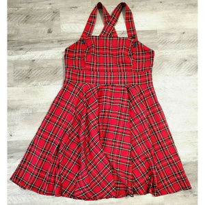 Hell Bunny Dresses - Hell Bunny Womens Dress Irvine Pinafore Plaid Red
